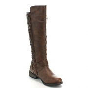 Forever Mango-21 Women's Winkle Back Shaft Side Zip Knee High Flat Riding Boots Brown 7.5.