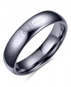 Free Engraving-Personalized His Hers Domed Plain Simple Tungsten Carbide Wedding Promise Engagement Ring Bands,4mm