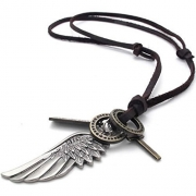 Mens Womens Adjustable Vintage Long Leather Cord Boho Pendant Necklace 2 Feathers Charm Necklace