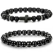 Jade cabbage Men Bracelets Natural Stone Healing Energy Balance Beads (8mm) Stretch 7″-7.5″ Gray