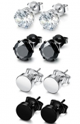 FUNRUN JEWELRY 4 Pairs Stainless Steel Stud Earrings for Men Women CZ Round Earrings Black 7mm