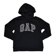 GAP Boys Fleece Arch Logo Pullover Hoodie (Black, Medium)
