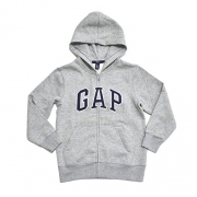 GAP Boys Fleece Arch Logo Zip Up Hoodie (Gray, Small)
