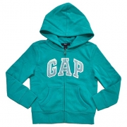 Gap Girls Zip Up Fleece Arch Logo Hoodie (S, Aqua Green)