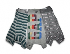 Gap Mens 3-Pair Boxer Briefs Trunk (Medium 32-34 Waist) Trunks Brief Underwear (Gray Wording, Stripes)