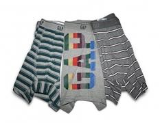 Gap Mens 3-Pair Boxer Briefs Trunk (Medium 32-34 Waist) Trunks Brief Underwear (Gray Wording, Stripes)