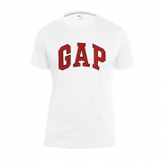 GAP Men's Crew Neck Arch Logo Tee (Large, White/Red).