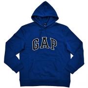 GAP Mens Fleece Arch Logo Pullover Hoodie (L, Dark Blue)