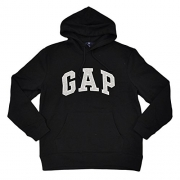 GAP Mens Fleece Arch Logo Pullover Hoodie (True Black, X-Large)