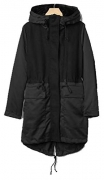 Gap Womens Black 3-In-1 Twill Wool Hood Parka Coat Small