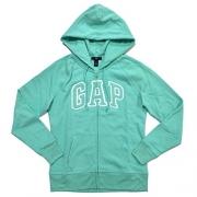 GAP Womens Fleece Arch Logo Full Zip Hoodie (Mint, L)