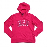 GAP Womens Fleece Arch Logo Pullover Hoodie (Bright Pink, X-Small)