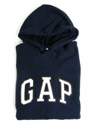 GAP Womens Fleece Arch Logo Pullover Hoodie (Navy, Medium)