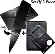 Gifts for Men Gadgets (Set of 2) Credit Card Size Tool and Knife (Black Sets of 2).