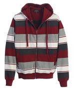 Gioberti Mens French Terry Full Zip Striped Hoodie Sweater, Maroon, XX Large