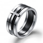 Jeulia 3PC Cross Style Titanium Steel Men's Wedding Ring