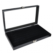 Black Leatherette Cufflink Case & Ring Storage Organizer Men's Jewelry Box for Cufflinks