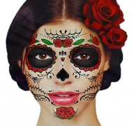 Glitter Floral Day of the Dead Sugar Skull Temporary Face Tattoo Kit – Pack of 2 Kits.