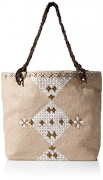 Gottex Women's Acapulco Embroidered Cotton Jute Bag With Braided Leather Handles, Natural/White, One Size.