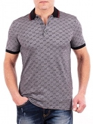 Gucci Polo Shirt, Mens Gray Short Sleeve Polo T- Shirt GG Print All Sizes (S).