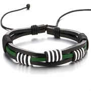 Hand-made Mens Green White Black Braided Leather Bracelet Genuine Leather Wristband Wrap Bracelet