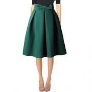 Tribear Women's Vintage High Waist Wool A-line Pleated Midi Skirts (2, 8759Coffee) – Womens Skirt Best Price
