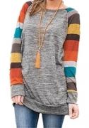 HARHAY Women's Cotton Knitted Long Sleeve Lightweight Tunic Sweatshirt Tops A7, Grey and Yellow Sleeve, US12-14/XXL