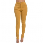 High Rise-Waisted ladies women multi-color stretch skinny Jeans pants.