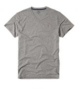 Hollister Men's Tee Graphic T-Shirt V Neck (M, Gray White Camo).