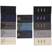 Home-X Easy Fit Extenders, Set of 5 Hooks, 5 Button, and 3 Jean Extenders. (5 Colors Each of Hooks and Buttons, and 3 Colors of Jeans Metal Button)