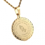 U7 Gold Plated Bible Verse Prayer Necklace with 22″ Free Chain Christian Jewelry Praying Hands Coin Medal Pendant