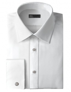 Men's 80's Cotton Pique Wing Collar Formal Shirt with French Cuffs by Ike Behar (15.5″ Neck 32/33″ Sleeve)
