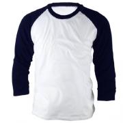ililily Simple Basic 100% Cotton Baseball 3/4 raglan sleeve T-shirt for Men (tshirts-008-2-M),Navy,Medium