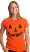 JACK O' LANTERN PUMPKIN Women's T-shirt / Easy Halloween Costume Fun Tee-Orange-Medium.