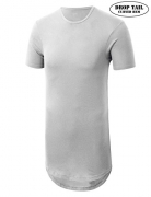 JD Apparel Mens Basic Hipster Longline Drop Tail T-Shirts Medium White.