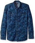 John Varvatos Men's Long Sleeve Western Shirt 63BN, Dark Indigo, Large