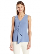 Jones New York Women's Slvlss Ruffle Front Top, Dusk, S.