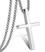 Jstyle Cross Necklace For Men Women Stainless Steel Small Jesus Pendant Necklace 22 Inches Sliver