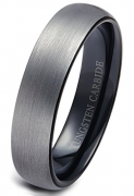 King Will BASIC Men Wedding Black Tungsten Ring 8mm Matte Finish Beveled Polished Edge Comfort Fit 9.5