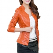 KEBINAI Fashion Women's Slim Short Motorcycle PU Autumn Winter Leather Jacket OrangeCN M.