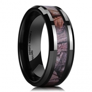 King Will 8mm Mens Black Tungsten Carbide Ring Camo Camouflage Comfort Fit Wedding Band (9)