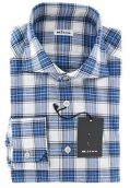 Kiton New Blue Plaid Slim Shirt