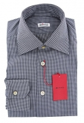 Kiton New Midnight Navy Blue Micro-Check Slim Shirt