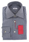 Kiton New Midnight Navy Blue Micro-Check Slim Shirt