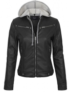 Womens Removable Hoodie Motorcyle Jacket