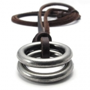 KONOV Mens Womens Double Ring Pendant Adjustable Leather Cord Necklace Chain, Brown Silver