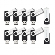 KOOTION 10PCS 2GB USB Flash Drives USB 2.0 Flash Drives Memory Stick Fold Storage Thumb drive Pen Swivel Design Black 【Ships from USA】