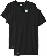 Lacoste Men's Essentials Cotton Crew Neck T-Shirt, Black/Gray/White, Medium (Pack Of 3)