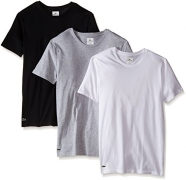 Lacoste Men's Essentials  Cotton Crew Neck T-Shirt, Black/Gray/White, Medium (Pack of 3).