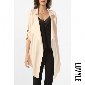 Lapel Plain Roll-Up Sleeve Asymmetrical Hems Trench-Coats